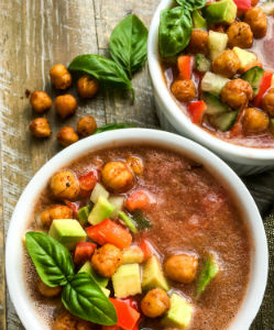 Summer Gazpacho with Chickpea Croutons