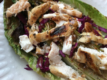 Grilled Romaine Lettuce Salad with Roasted Chicken
