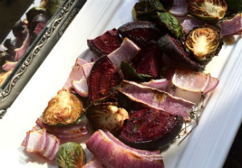Roasted Brussels Sprouts with Red Onions & Beets