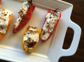 3 Cheese and Bacon Stuffed Mini Peppers