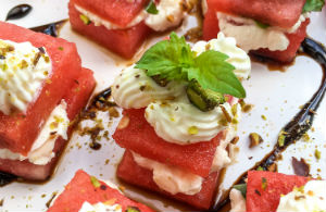 Watermelon, Whipped Feta & Basil Bites